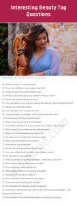 Beauty Tag Questions Image