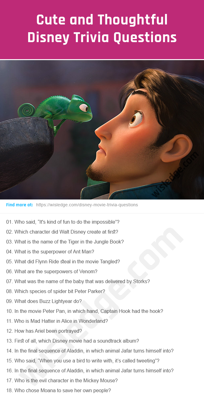 42 Cute Disney Trivia Questions to Revisit Childhood - Wisledge