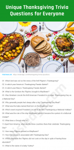 Thanksgiving Trivia Questions Image