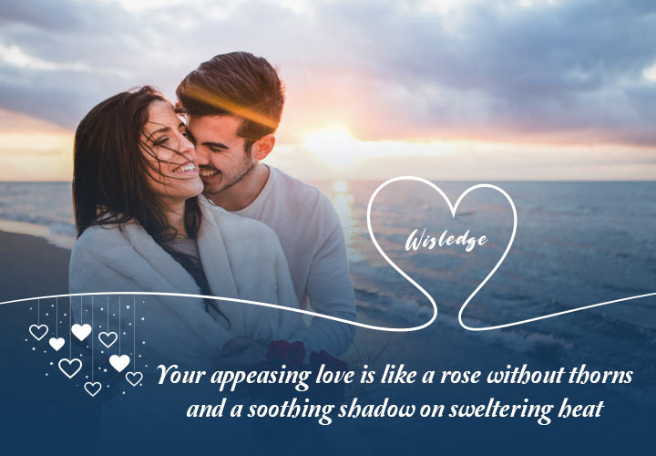 """Your appeasing love is like a rose without thorns and a soothing shadow on sweltering heat."""""""