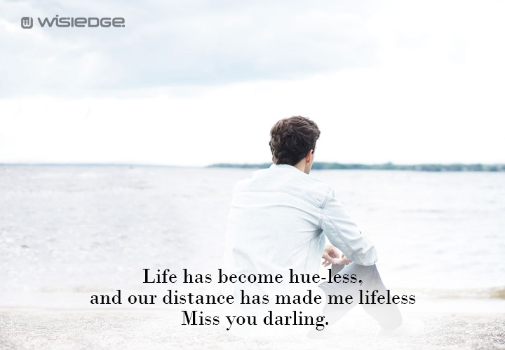 Life has become hue-less, and our distance has made me lifeless. Miss you darling.