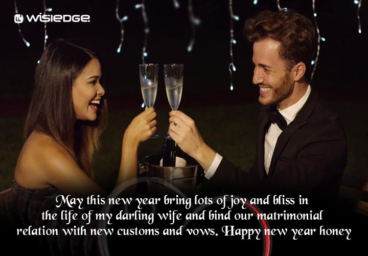 May this new year bring lots of joy and bliss in the life of my darling wife and bind our matrimonial relation with new customs and vows. Happy new year honey.